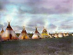 Evening at Blackfeet camp. Montana. Early 1900s. Glass lantern slide by Walter McClintock.