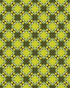 in a modern tradicional combination of yellow, green & black by Kismet Tile Textile Patterns, Cool Patterns, Beautiful Patterns, Vintage Patterns, Quilt Patterns, Textiles, Surface Pattern, Surface Design, Repeating Patterns