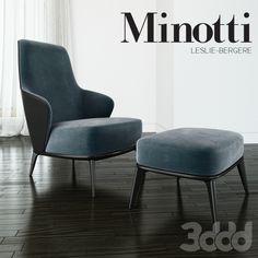 Minotti - Leslie long backrest armchair ottoman leather
