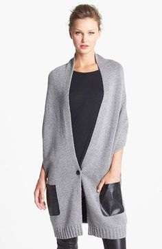 Knit vest with faux leather pockets. #love | $58.00