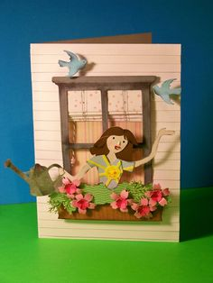 Window card using Spring Cottage.  Figure is from Country Life.  Card by Nadia -- With Glittering Eyes blog.