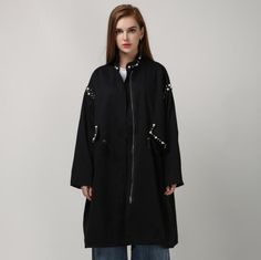 2016 Fall Winter Women's Long Sleeved Trench Coat Style Windbreaker with Pearl Beading