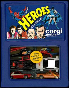Chuck's Stuff has this Corgi Jr./Junior/Juniors Heroes 12 car Carry Case, with original 6 cars, for sale for $85. From the late 1970's. Excellent condition (near mint case), but some cars have minor defects, noted on site, with more pics. You get the Batmobile & Batcopter, Spider-Man helicopter, James Bond 007 Lotus Esprit, Starsky & Hutch Gran Torino, and the Kojak Buick. #diecast #toycars #corgijr
