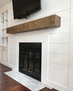 DIY shiplap fireplace #diy #shiplap #fireplace #diyshiplap #beam #mantle #woodmantle