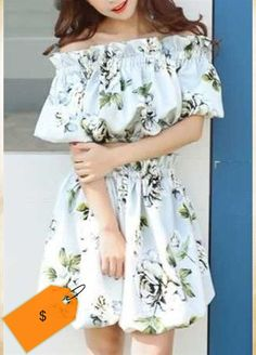 Sweet Off-The-Shoulder Half Sleeve Crop Top  High Waisted Floral Print Skirt Twinset For Women