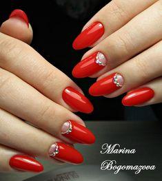 New nails spring long hair trends Ideas Silver Nails, Red Nails, Hair And Nails, Red Summer Nails, Spring Nails, Long Nail Designs, Red Nail Designs, Vogue Nails, Mickey Nails