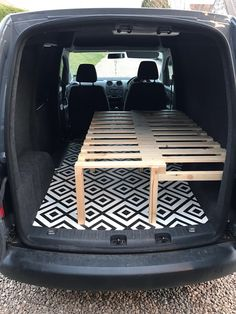 VW Caddy with sliding slat bed/bench! So chuffed with it