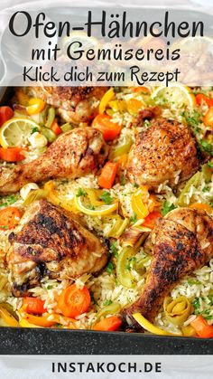 Vegetable Rice, Good Food, Yummy Food, Oven Chicken, Four, Paella, Food And Drink, Easy Meals, Low Carb