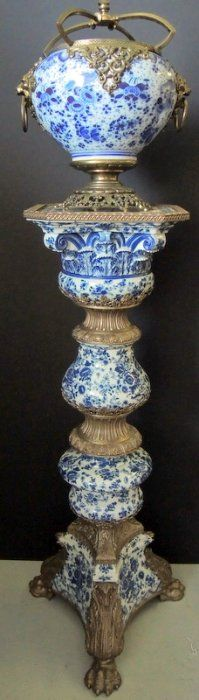 Monumental Blue Delft and Brass Victorian Pedestal.