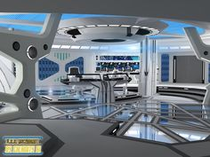 This is my model of the bridge of the USS Ascendant. The design is basically a like for like recreation of the bridge of the USS Vengeance from Star Trek Into Darkness, but with an overall colour s. Spaceship Interior, Futuristic Interior, Spaceship Design, Futuristic Architecture, Star Trek Bridge, Starfleet Ships, New Technology Gadgets, Alien Spaceship, Sci Fi Environment