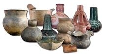 Collage of Caddo clay vessels.
