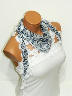 Personalized Design blue white Scarf Turkish by WomanStyleStore, $14.00