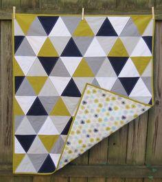 Baby quilt Toddler quilt  Modern. Navy mustard grey by AandEQuilts