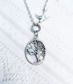 Silver Tree Necklace - TREE OF LIFE - Sleepy Hollow - Jewelry by BirdzNbeez -  Wedding Birthday Bridesmaids Gift