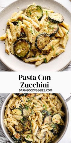 Pasta Con Zucchini – an easy traditional Italian pasta with seasonal zucchini, ricotta, parmesan, and penne. This 7 ingredient pasta recipe is Gluten free & vegan adaptable.