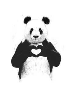 """The Stupell Home Decor Collection 10 in. x 15 in. """"Black and White Panda Bear Making a Heart Ink Illustration"""" by Balazs Solti Wood Wall Art, Multi-Colored Love Canvas, Canvas Wall Art, Painting Canvas, Diy Canvas, Canvas Totes, Canvas Size, Painting & Drawing, Panda Painting, Drawing Artist"""