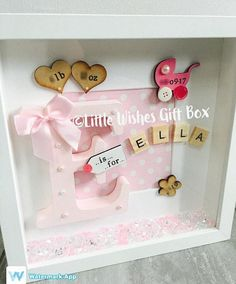 New Baby Girl birth / child initial box frame, perfect for a Nursery or gift to celebrate the birth of a new baby! Add all birth details or just a name. Can be made in any colours & for boys or girls. Frame measures 25cm x 25cm x 4.5cms in depth. Please see my other listings for