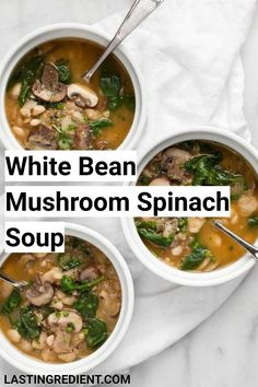 Beans thicken this vegan white bean mushroom spinach soup giving it a creamy constancy while fresh rosemary and garlic make it fragrant and full of flavor. Bean Recipes, Side Dish Recipes, Dinner Recipes, Lunch Recipes, Fall Recipes, Side Dishes, Healthy Recipes, White Bean Soup, White Beans