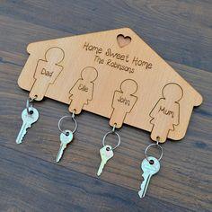 Family Keyring Hanger Hooks for Keys Housewarming New Home Wooden Keyrings Gift