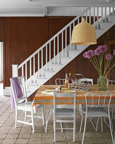 Fresh dining, mixed chairs, pops of color; #Martha Stewart Living