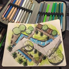 Quick And Easy Landscaping On A Budget - House Garden Landscape Landscape Architecture Drawing, Landscape Design Plans, Garden Design Plans, Landscape Drawings, Plan Design, Design Art, Architecture Sketches, Lego Architecture, Bungalow Haus Design