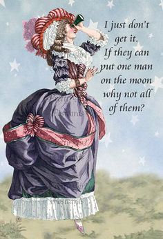 """""""I Just Don't Get It. If They Can Put One Man On The Moon Why Not All Of Them?"""" Funny Marie Antoinette Postcards by PrettyGirlPostcards.com"""