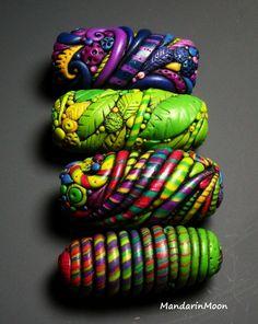 Assortment of Polymer Clay Focal Beads by MandarinMoon.deviantart.com on @deviantART