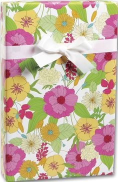 Everyday Gift Wrap - Fresh Flowers Gift Wrap, 24' x 417' (1 roll) - BOWS-M-5465H -- Want additional info? Click on the image.
