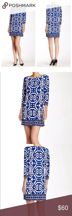 """Laundry Shelli Segal Blue Boatneck Shoji Dress 2 New with tags. Size 2.  About This Item Details: A contrast trim runs the border of this allover print 3/4 sleeve dress. - Boatneck - Elbow length sleeves - Allover print - Approx. 33"""" length - Imported Fiber Content: 95% polyester, 5% spandex Care: Machine wash Additional Info: Fit: this style fits true to size.  Model's stats for sizing: - Height: 5'8"""" - Bust: 34"""" - Waist: 24"""" - Hips: 34"""" Model is wearing size 2. Laundry by Shelli Segal…"""