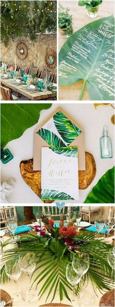 Boda con decoración tropical. Invitación de estilo tropical. Las mesas de esta fiesta temática están decoradas con plantas tropicales y flores de colores brillantes.