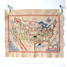 Embroidered Map of USA artwork, multi, accents