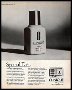 1983 Clinique Skin Texture #Lotion #B&W #Vintage #1980s Photo Print #Ad #Clinique