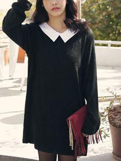 Refreshing Black Peter-pan Collar Long Sleeve Cute Women Dress