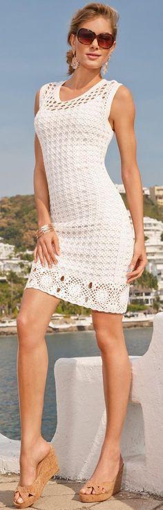 Vestido Branco de Crochet                                                                                                                                                                                 Mais
