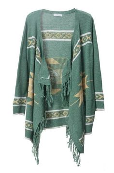 Bohemian fringed irregular cardigan