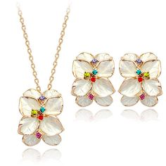 DCM Zirconia Jewelry wholesale Free Shipping Rose Gold Color And Austrian White flower earring and necklace Jewelry set