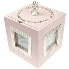 """A delightful present for a Christening or Newborn Baby Gift.  The music box plays """"Twinkle, Twinkle Little Star"""" and is activated by turning the cube clockwise whilst it is resting on a flat surface.  The lid of the keepsake box has a little teddy which is also the handle for the lid.  The interior is felt lined as is the base."""