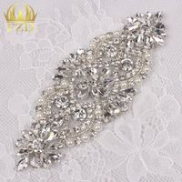 (5pieces) Sewing On Hot Fix Sliver Wholesale Iron On Bridal Headpieces or Sash Rhinestone Crystal Appliques for Wedding Dresses