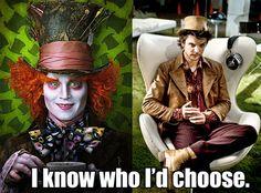Johnny Depp (Alice in Wonderland, 2010) or Andrew Lee Potts (Alice, 2009)
