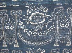 Antique 18th century Indigo resist quilt textile ~ STUNNING European design whole cloth textile ~ www.textiletrunk.com