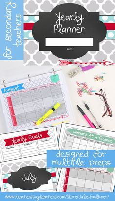 Quatrefoil Design Planner for High School Teachers with Up to Three Preps | Multiple Preps | Organization | Planning