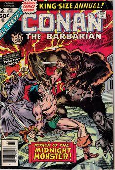 Conan The Barbarian Annual 2 1976 Issue Marvel Comics Comic Books For Sale, Comics For Sale, Marvel Comic Books, Comic Books Art, Comic Art, Book Art, Conan The Barbarian Comic, Barbarian King, Caricature