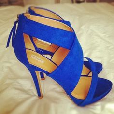 Zara Collection Blue Suede Crossover Heels
