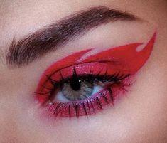 Red Eyeliner, Red Eye Makeup, Beauty Makeup, Eyeliner Makeup, Makeup Inspo, Makeup Inspiration, Pretty Makeup, Makeup Looks, Fire Makeup