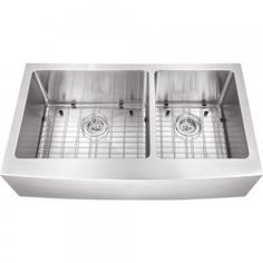 All-in-One Apron Front Undermount Stainless Steel 36×20-3/4×10 0-Hole Double Bowl Kitchen Sink