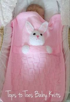 rabbit easy blanket (annotated) – Activity of the Month… - Babykleidung Crochet Blanket Patterns, Baby Knitting Patterns, Baby Blanket Crochet, Baby Patterns, Knitting For Kids, Knitting Projects, Bunny Blanket, Quilt Baby, Knitted Baby Blankets
