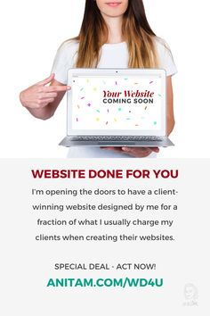 Ready to rock the web with a client-winning website created by a pro but for less money? Check out this special deal today and have your website launched in no time. #websitelaunch #diywebsite #wordpress #WebWeek #WebsiteInWeek #buildwebsite #WebDesign #WebMentor #CourseCcreator #LadyBoss #websitedoneforyou #wd4u #anitam.com Creative Business, Business Tips, Deal Today, Create Website, Special Deals, Business Entrepreneur, Instagram Tips, Are You The One, Online Marketing