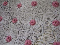 Vintage Abacaxi Crochê Branco Rosa 3d Roseta King Queen colcha Completa 100x88