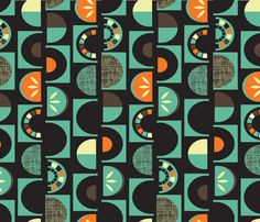 - Slice Of Pie Black Aqua by celiaforrester Set of 2 Mid Century Dinner Napkins Vintage Style  Abstract Cloth Napkins by Spoonflower