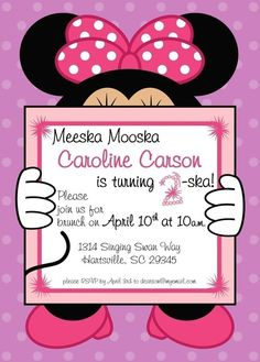 Minnie Mouse Birthday Party Invitation by punkinprints on Etsy, $15.00